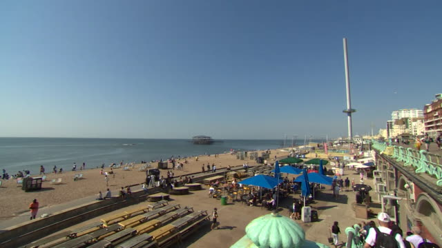 brighton beach seafront during hot sunny weather - sunny stock videos & royalty-free footage
