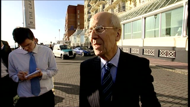 brighton bombing 25th anniversary: lord tebbit; ext lord tebbit speaking to press outside grand hotel sot - pays tribute to fire fighters/ discusses... - 許し点の映像素材/bロール
