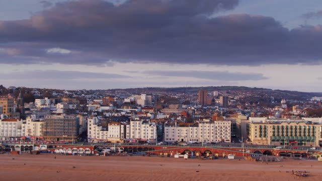brighton from the sea - aerial shot - brighton england stock videos and b-roll footage