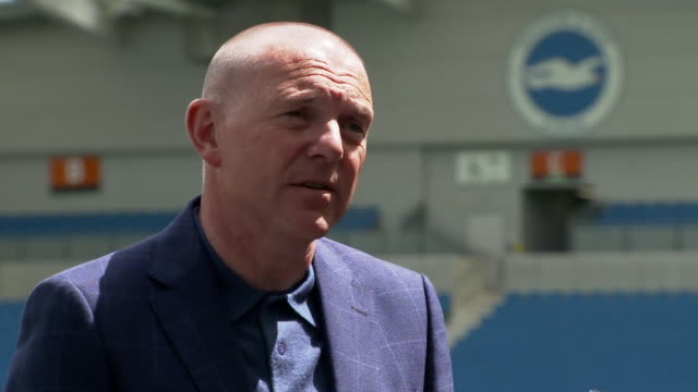 """brighton & hove albion fc chief executive paul barber urging fans not to congregate at the stadium so they can complete the season """"on the pitch""""... - east sussex stock videos & royalty-free footage"""
