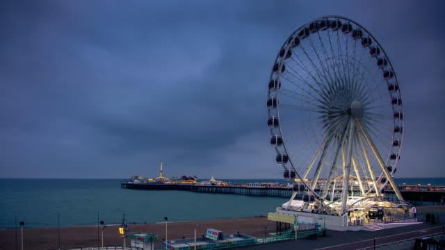 brighton pier - day to night timelapse - brighton england stock videos & royalty-free footage