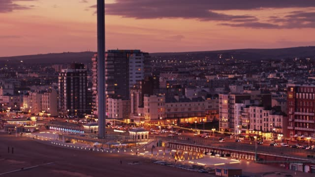 brighton seafront after sunset - drone shot - brighton england stock videos and b-roll footage