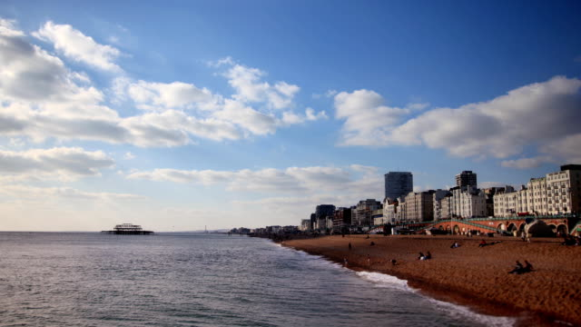 brighton west pier and beach timelapse - brighton england stock videos & royalty-free footage