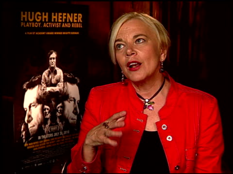 brigitte berman on what she thinks hef's biggest victory/contribution is. at the 'hugh hefner: playboy, activist and rebel' junket at beverly hills... - biggest stock videos & royalty-free footage