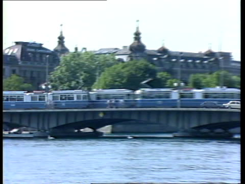 zurich lms traffic across bridge over river pull gv hotel where gang stayed av ditto ms 2 men drinking tea on terrace - mat stock videos and b-roll footage