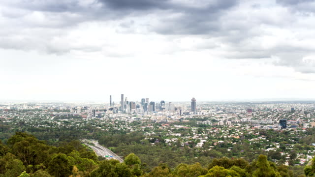 time lapse: brisbane aerial view from mount coot-tha - suburban stock videos and b-roll footage