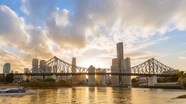 Brisbane CBD with Story Bridge sunset Timelapse.