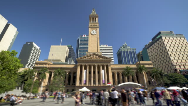 brisbane city hall historic building- tilt-shift timelapse - queensland stock videos & royalty-free footage