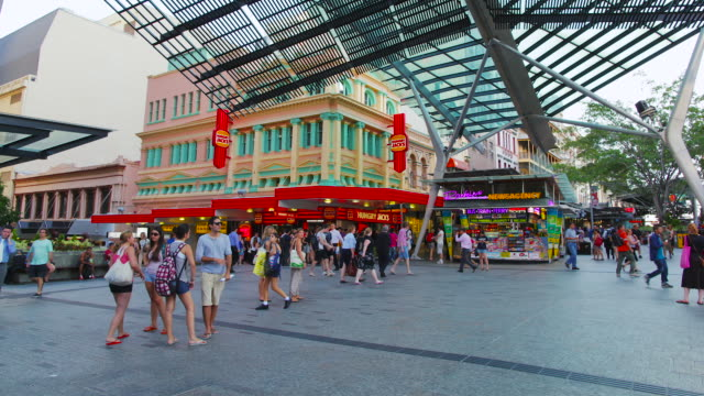 brisbane queen street mall time-lapse - shopping centre stock videos & royalty-free footage