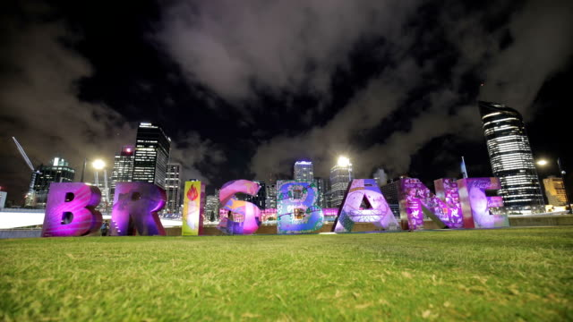 Brisbane Sign and Skyscrapers at Night