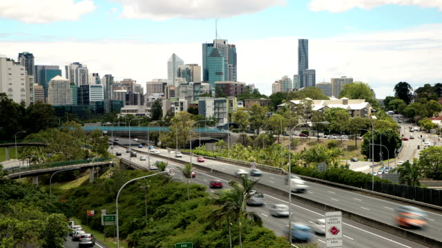 brisbane traffic time lapse - motorway stock videos & royalty-free footage