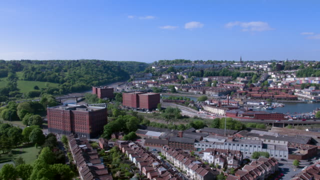 bristol ashton gate round to hotwells aerial view - bristol england stock videos & royalty-free footage