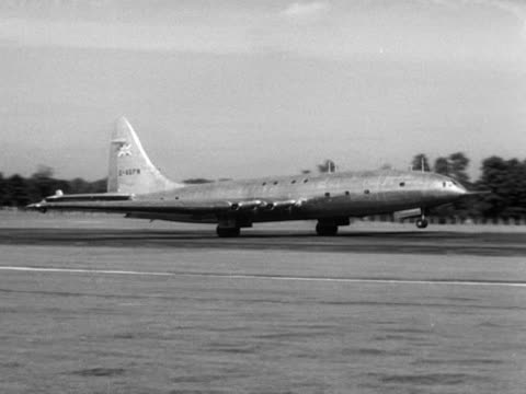 a bristol brabazon aircraft takes off on its maiden flight at farnborough airfield - bristol england stock videos & royalty-free footage