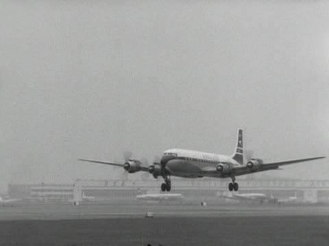 bristol britannia aircraft takes off from an airport - 1958 stock videos & royalty-free footage