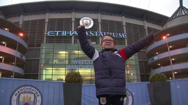 Bristol City ballboy Jaden Neale given VIP treatment by Manchester City Jaden Neale posing outside Etihad Stadium