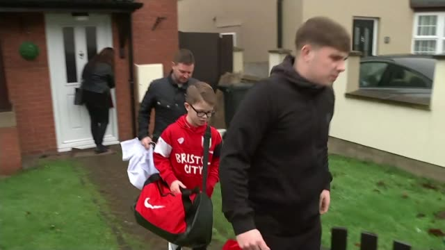 Bristol City ballboy Jaden Neale given VIP treatment by Manchester City Bristol INT Jaden Neale interview SOT Jaden Neale and family leaving house...