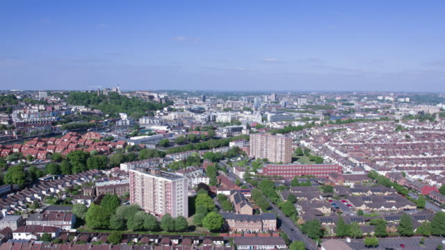bristol - drone aerial view panning round from overview to residential houses - bristol england stock videos & royalty-free footage