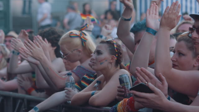 bristol pride festival 2018: crowd of people at music festival. - popular music concert stock videos & royalty-free footage