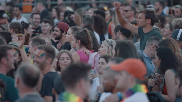 bristol pride festival 2018: crowd of people at music festival. - spectator stock videos & royalty-free footage
