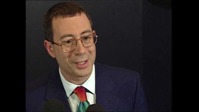 red carpet interviews: part two; england: london: earl's court: ben elton speaking to press sot - ben elton stock videos & royalty-free footage