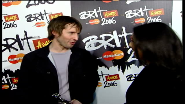 Brit Awards 2006 James Blunt interview SOT Amazing a real surprise and a real thrill / Awards weren't what I thought about when I first started but...