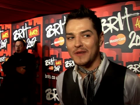 brit nominations launch party: red carpet interviews; matt willis interview sot - big fans of the feeling's album / can't wait to see the feeling... - amy winehouse stock-videos und b-roll-filmmaterial