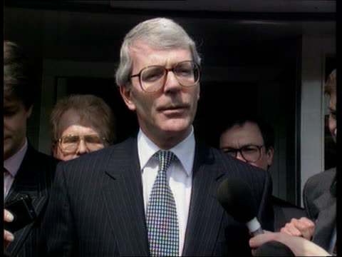 Lancs MS John Major out of car and towards as shakes hands with man LBV Major going into building as BV press outside CMS John Major pkf SOT I'm a...