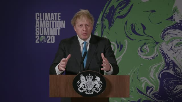 britain and france host climate ambition summit 2020; england: london: int boris johnson mp speech at podium sot. - together we can reduce our... - speech stock videos & royalty-free footage