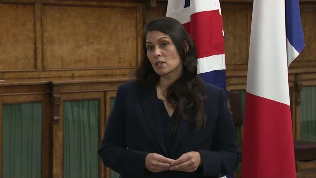 "britain and france sign agreement aimed at making attempts at channel crossings ""unviable""; england: london: westminster: int priti patel mp... - politics点の映像素材/bロール"