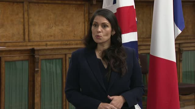 "britain and france sign agreement aimed at making attempts at channel crossings ""unviable""; england: london: westminster: int priti patel mp speaking... - politics点の映像素材/bロール"