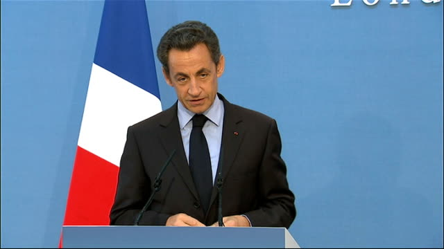 britain and france sign treaty on military co-operation: press conference; nicolas sarkozy press conference sot - thank you, david. i wish to say, in... - on air sign stock videos & royalty-free footage