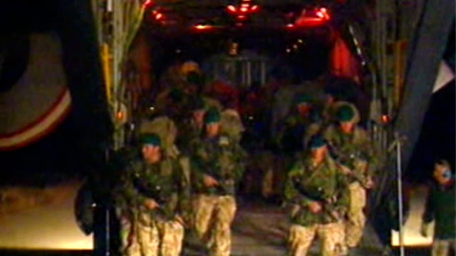 britain formally ends combat operations camp bastion handed over to afghan control lib / tx afghanistan kabul bagram airbase ext / night british... - バグラム点の映像素材/bロール