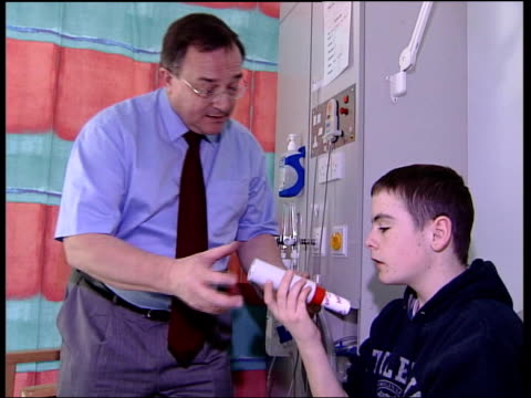 Britain has highest number of asthma sufferers ITV EVENING NEWS MARTIN GEISSLER Edinburgh Asthma sufferer putting inhaler to his mouth pressing...