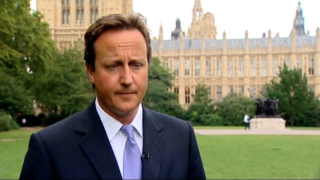 Britain leads condemnation of Russia statement on new Cold War David Cameron interview ENGLAND London Westminster EXT David Cameron interview SOT On...