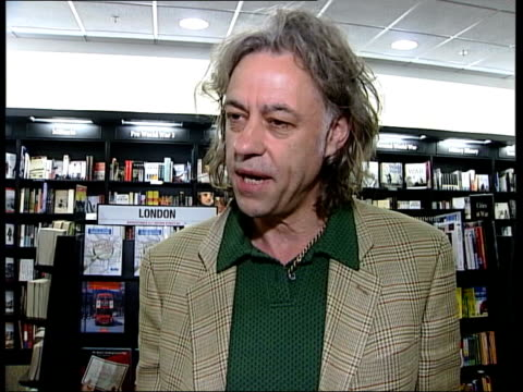 stockvideo's en b-roll-footage met int sir bob geldof interview sot famine and hunger deal with the symptoms of poverty/ if you are welloff you don't die of drought/ for example... - bob geldof