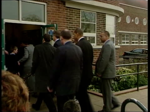 terrorist threat security precautions pool sheffield tony blair mp and blunkett arriving at school for visit pan blunkett playing drums blair playing... - plucking an instrument stock videos and b-roll footage