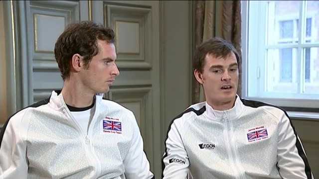 britain win davis cup for first time in 80 years: andy murray and jamie murray interview; jamie murray interview sot - davis cup stock videos & royalty-free footage