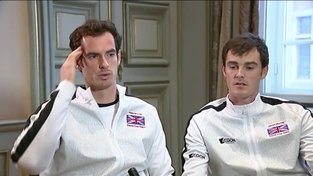 britain win davis cup for first time in 80 years: andy murray and jamie murray interview; andy murray interview sot - davis cup stock-videos und b-roll-filmmaterial