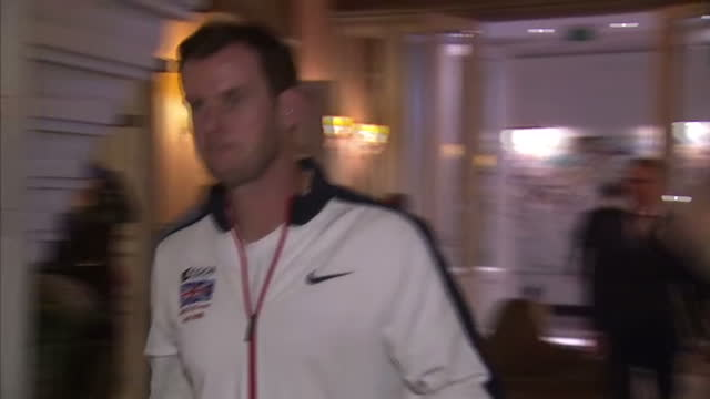 Britain win the Davis Cup in Ghent Shows interior shots James Ward Leon Smith walking through the lobby of hotel on November 30 2015 in Ghent Belgium