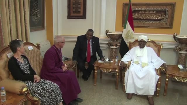 britain's archbishop of canterbury justin welby meets sudan's president omar al bashir as the religious leader declares sudan the 39th province of... - anglican stock videos & royalty-free footage