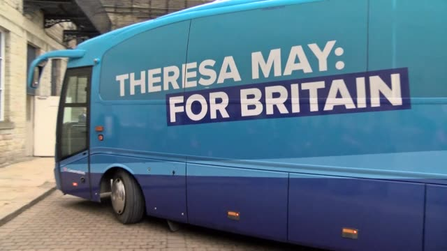 britain's conservative party battle bus arrives in halifax in west yorkshire ahead of their election manifesto launch - west yorkshire stock videos & royalty-free footage