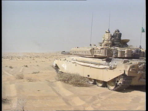 britain's desert rats saudi arabia ms puma helicopter landing blowing up sand ms prince khalid bin sultan along and shakes british officer lms bin... - sultan stock videos and b-roll footage