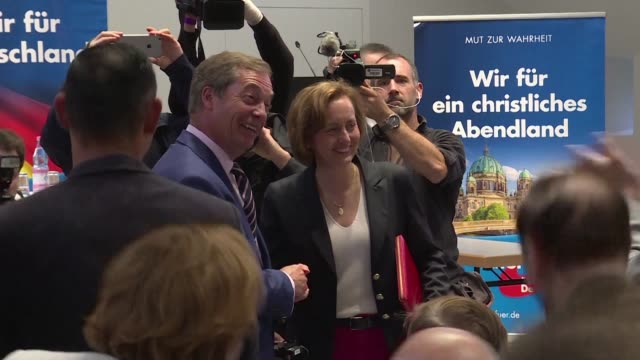 Britain's former UKIP party leader Nigel Farage speaks at a Berlin campaign event of the anti immigration and eurosceptic AfD party arguing Germans...