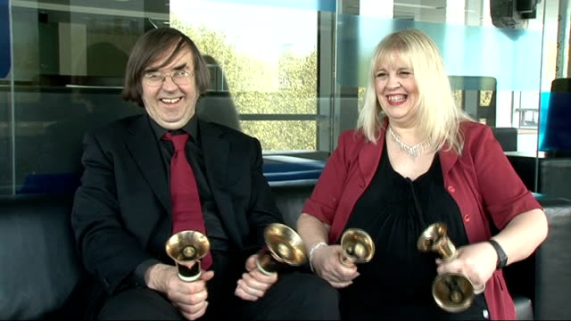 'britain's got talent': bell ringers interviewed; gay cooper and alan cooper perform bell ringing with hand bells sot - britain's got talent stock-videos und b-roll-filmmaterial