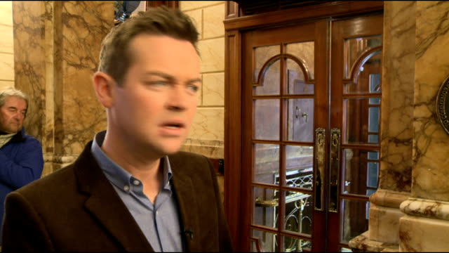 britain's got talent launch 2013: interviews with judges; england: london: int **beware flash photography** stephen mulhern speaking to press sot... - britain's got talent stock-videos und b-roll-filmmaterial