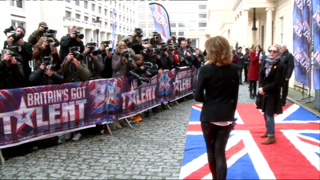 britain's got talent launch interviews; amanda holden arriving / holden posing for photocall / holden chatting with press amanda holden holden... - britain's got talent stock-videos und b-roll-filmmaterial