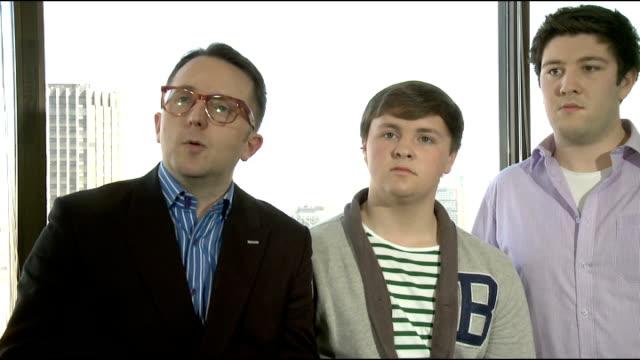 only boys aloud interview england london int tim rhysevans corey greenway emyn wyn jones iori hangen interview sot - only boys stock videos & royalty-free footage