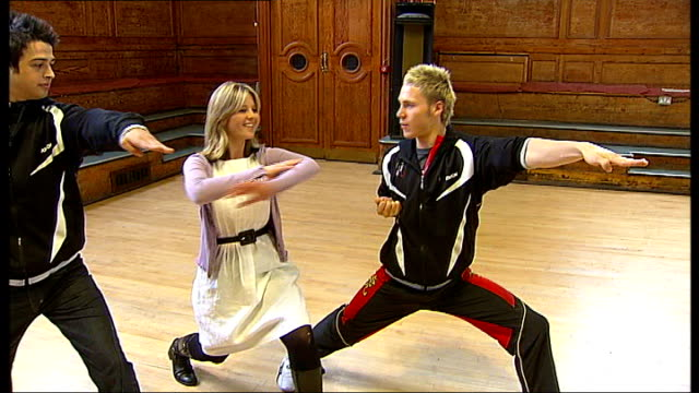 'britain's got talent' tour reporter doing karate moves with ball and richards - britain's got talent stock-videos und b-roll-filmmaterial