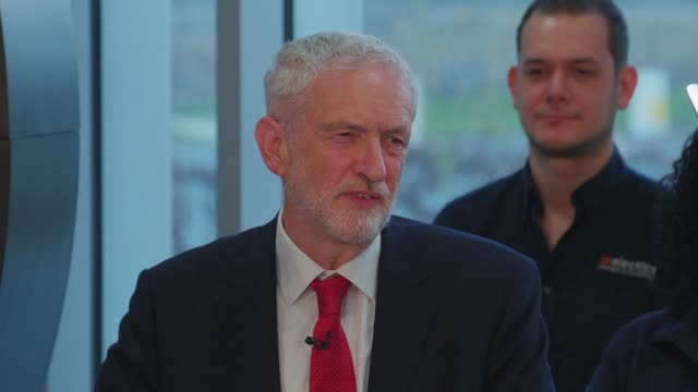 britain's main opposition leader jeremy corbyn calls for a general election to resolve the current deadlock in parliament over brexit during a speech... - jeremy corbyn stock videos & royalty-free footage