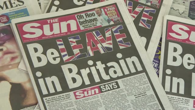 Britain's most read newspaper The Sun urges readers to vote to leave the European Union in an editorial splashed across its front page in the colours...